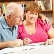 Mature Couple Studies in Library — Stock Photo