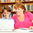 Mother Helps Son Study — Stock Photo