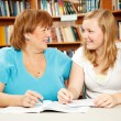 Mother or Teacher with Teen Student - Stock Photo