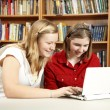 Pretty Teens on Computer — Stock Photo