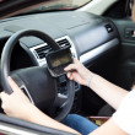 Teenage Driver Texting — Stock Photo