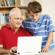 Computer Help From Son — Stock Photo
