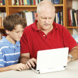 Confused Dad Helps with Homework — Stock Photo
