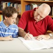 Dad Helps Son with Homework — Stock fotografie
