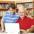 Father and Son Online — Stock Photo