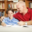 Father and Son in Library — Stock Photo