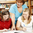 Librarian Helps Students — Stock Photo #6803130