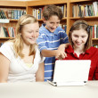Library Kids on Netbook Computer - Foto Stock