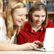 Teen Girls Use Computer in Library - Stock Photo