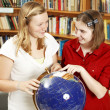 Teen Girls with Globe — Stock Photo