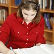 Teenage Girl Does Homework — Stock Photo