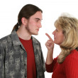 Beligerant Teen Faces Mom — Stock Photo