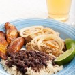 Cuban Dinner with Iced Tea — Stock Photo