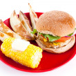 Turkey Burger Isolated with Path - Stock Photo