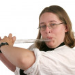 Student Playing Flute — Stock Photo