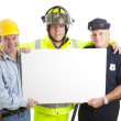 Blue Collar Guys with Sign — Stock Photo