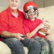 Stock Photo: Father Son Football Fans