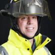 Firefighter Portrait on Black — Stock Photo