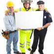 Stock Photo: Workers Carrying Sign