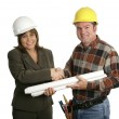 Female Engineer & Contractor Handshake — Stock Photo