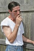 Smoking Man - Inhale — Stock Photo