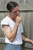 Smoking Man - Profile — Stock Photo