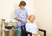 Senior Woman Gets Ultrasound — Stock Photo