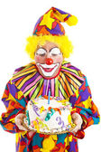 Clown Blows Birthday Candle — Stock Photo