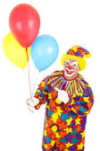 Clown Points at Balloons — Stock Photo