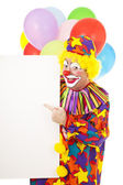 Clown Points to Message — Stock Photo