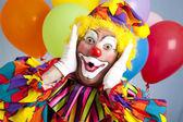 Surprised Birthday Clown — Stock Photo