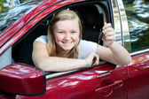 Beautiful Teen Girl with New Car — Stock Photo