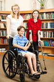 Kids in Library - Disabilities — 图库照片