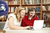 Pretty Teens on Computer — Stock Photo