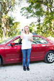 Teen With First New Car — Stock Photo
