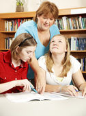 Ajuda os alunos a bibliotecária — Foto Stock