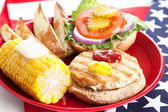 Fourth of July Picnic - Turkey Burger — ストック写真