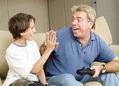 Video Gamers High Five — Stock Photo