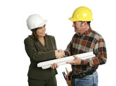 Female Architect Meets Contractor — Stock Photo