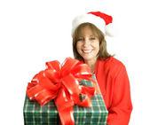 Santa's Helper With Gift — Stock Photo