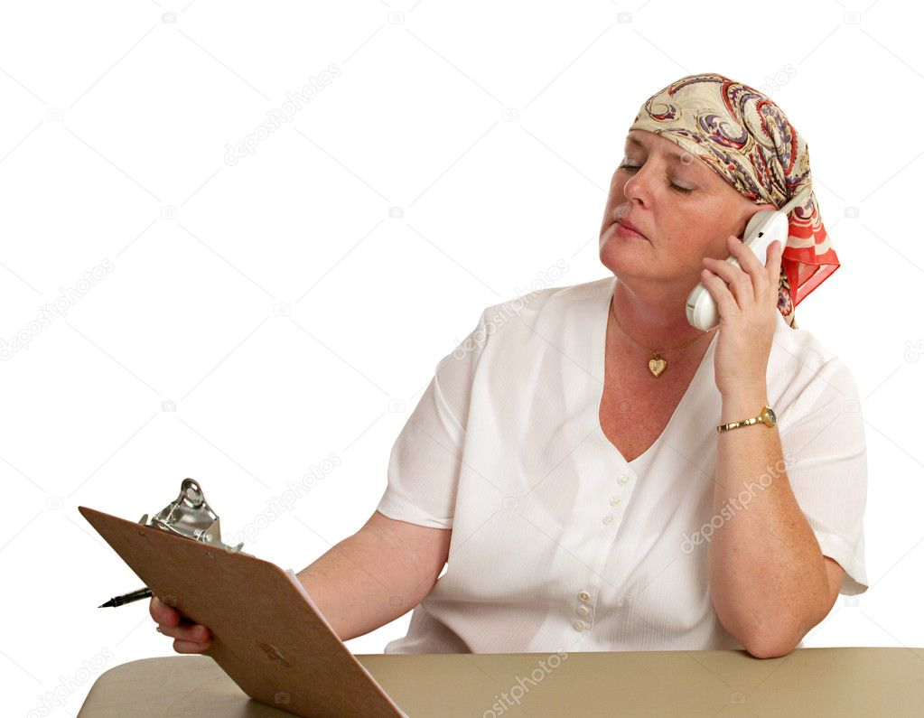 A medical patient returning to work after chemotherapy.  Stock Photo #6800552