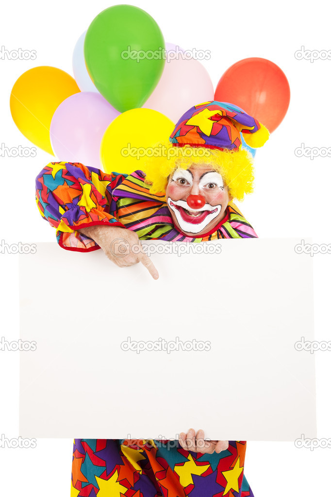Funny circus clown holding a blank white card, ready for your message.  Isolated. — Stock Photo #6802282