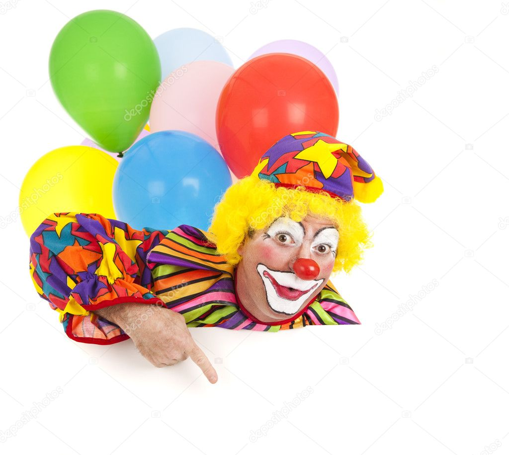 Pointing clown with balloons, isolated on white.  Design element ready for your text. — Photo #6802436