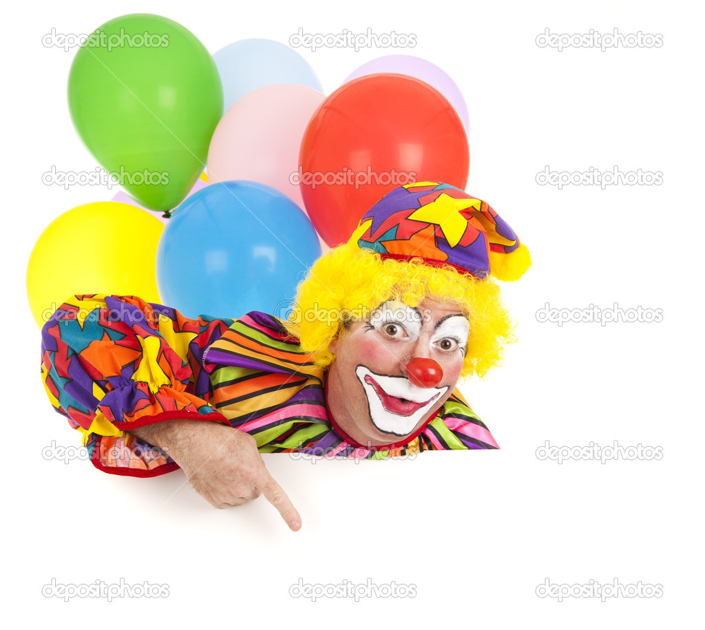 Pointing clown with balloons, isolated on white.  Design element ready for your text. — Lizenzfreies Foto #6802436