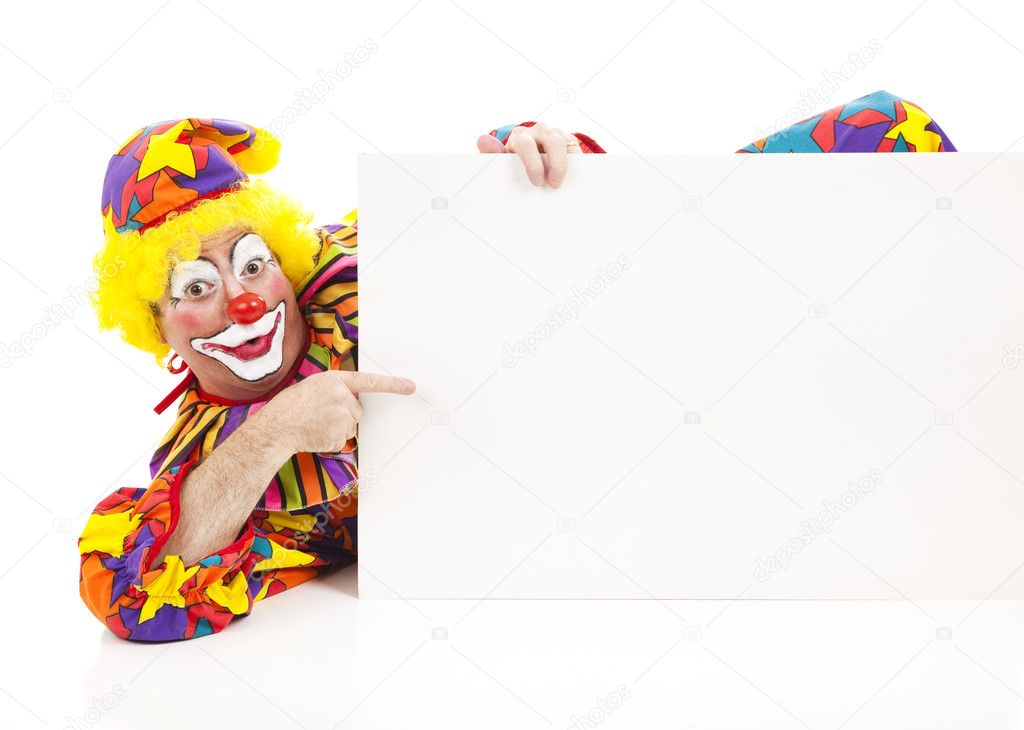 Clown reclines while pointing to a blank sign.  Design element on white background.   — Stock Photo #6802439