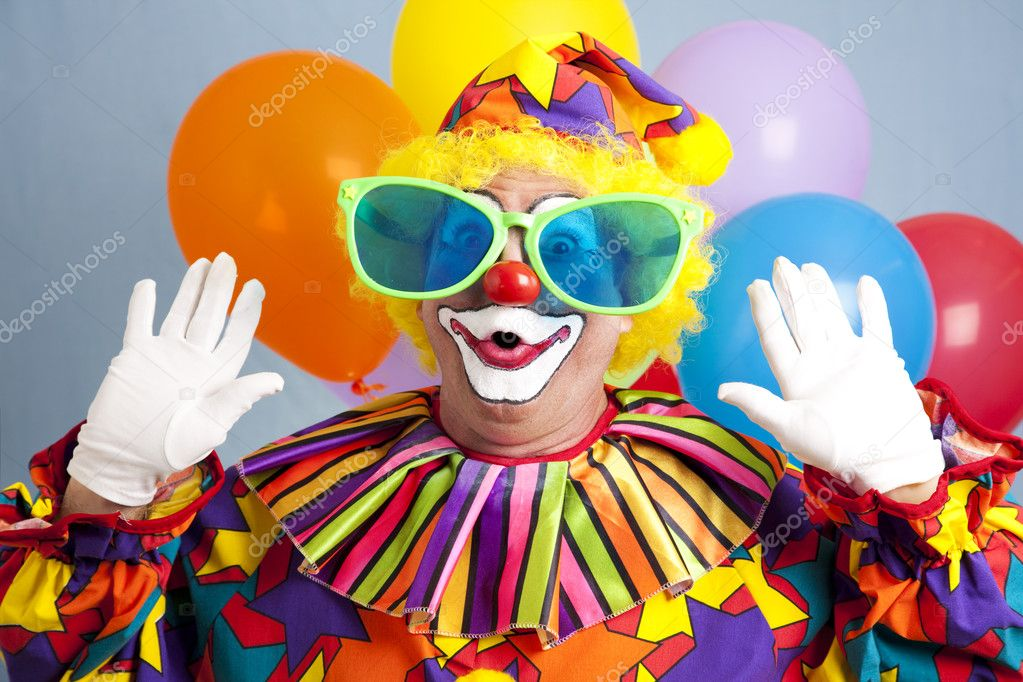 Silly clown in oversized glasses, making a surprised face.   — Stock Photo #6802457