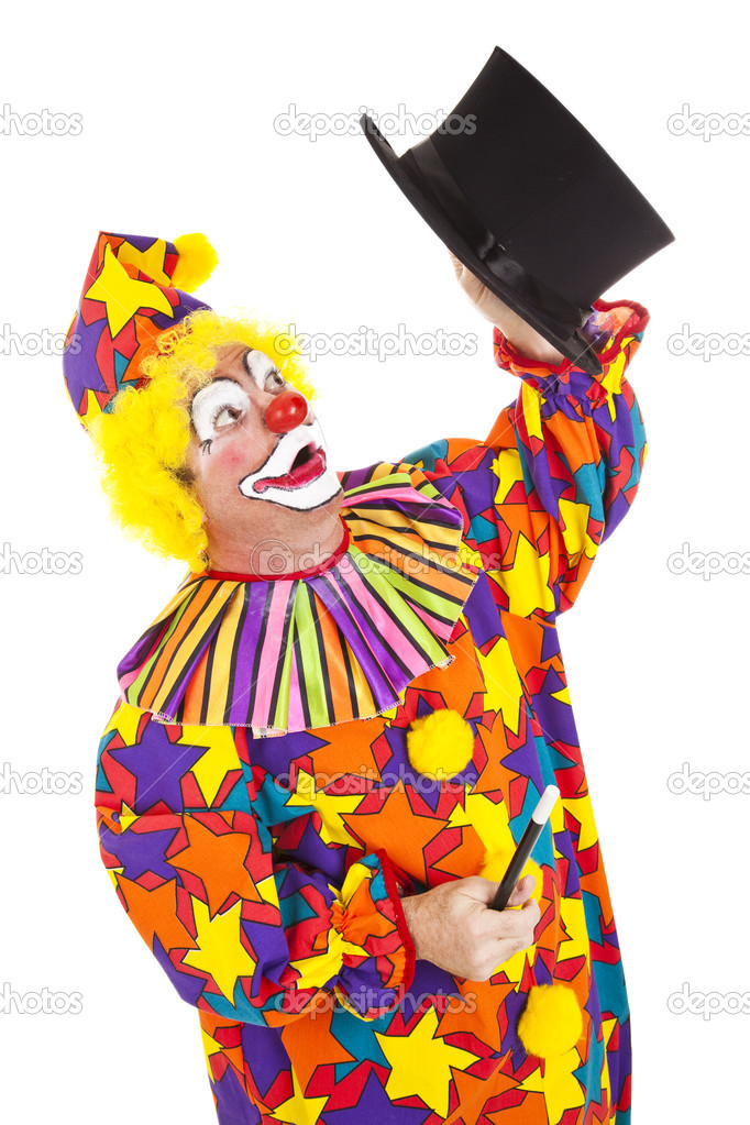 Confused clown looking for the rabbit he lost in a magic top hat.  Isolated on white.   — Stock Photo #6802477