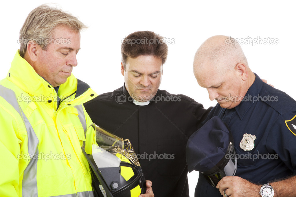 Priest of minister leads a firefighter and a policeman in prayer.  White background.   — Stock Photo #6804726
