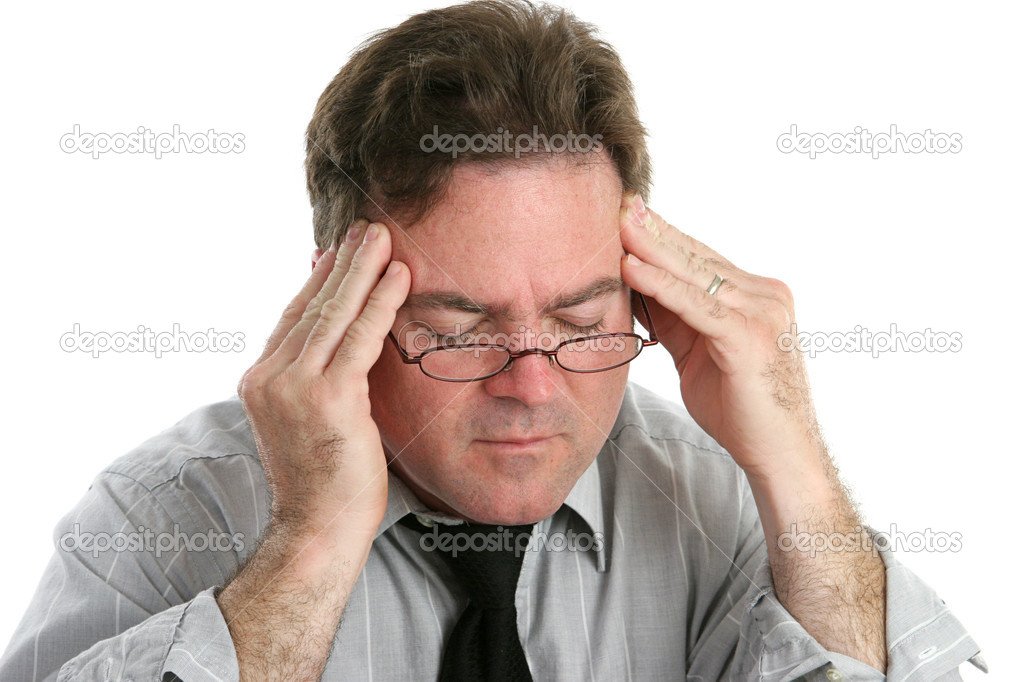Businessman with a headache rubbing his temples in pain.  Isolated on white. — Stock Photo #6805027