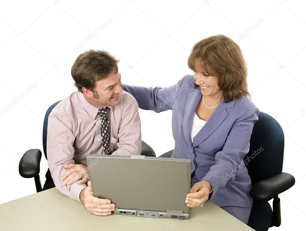 A businesswoman congratulating her colleague on a job well done.  Isolated. — Stock Photo #6805101